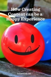 how creating content can be a happy experience pinterest graphic